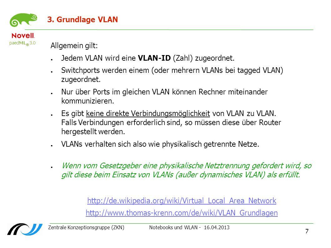 Zentrale Konzeptionsgruppe (ZKN) Notebooks und WLAN - 16.04.2013 7 3. Grundlage VLAN Allgemein gilt: Jedem VLAN wird eine VLAN-ID (Zahl) zugeordnet. S