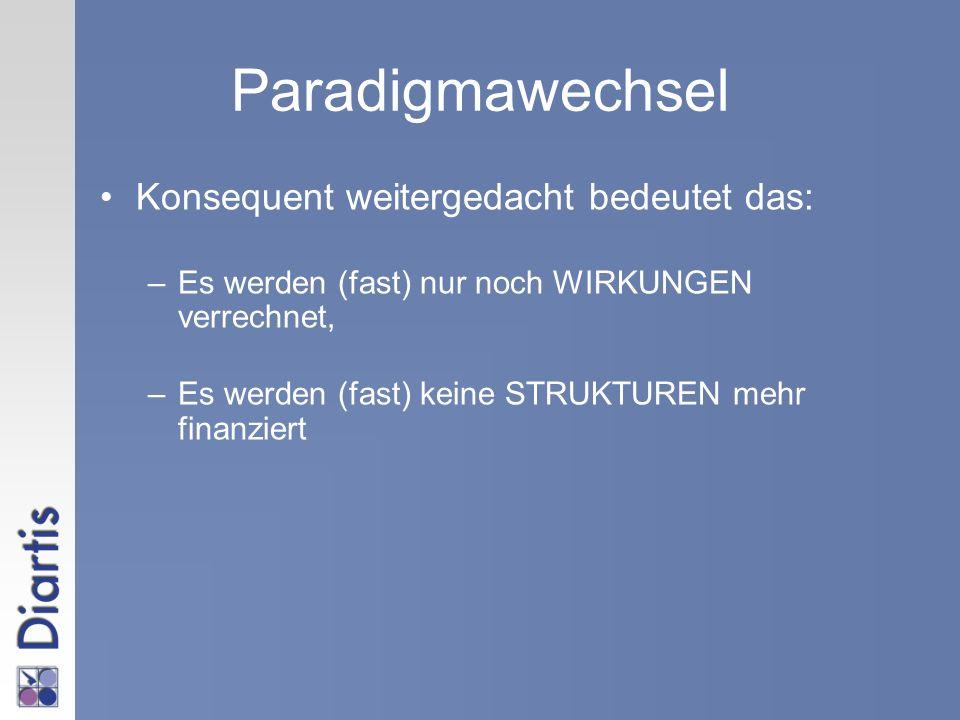 Paradigmawechsel Konsequent weitergedacht bedeutet das: –Es werden (fast) nur noch WIRKUNGEN verrechnet, –Es werden (fast) keine STRUKTUREN mehr finan