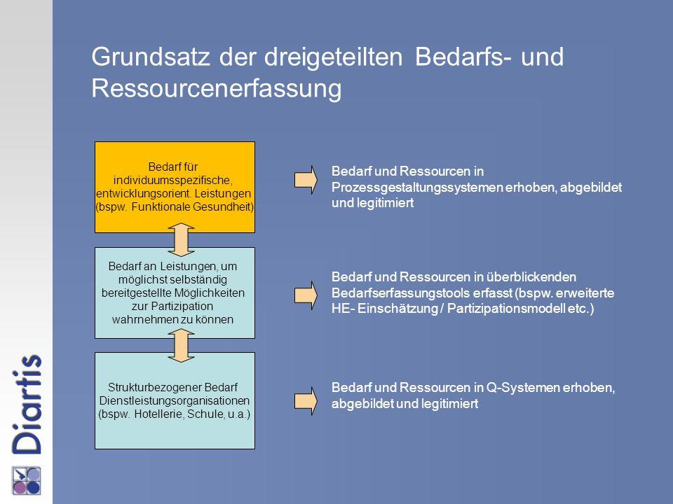 Strukturbezogener Bedarf Dienstleistungsorganisationen (bspw. Hotellerie, Schule, u.a.) Bedarf an Leistungen, um möglichst selbständig bereitgestellte