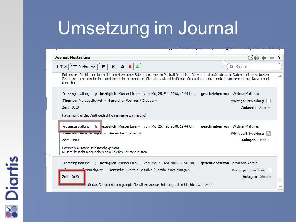 Umsetzung im Journal