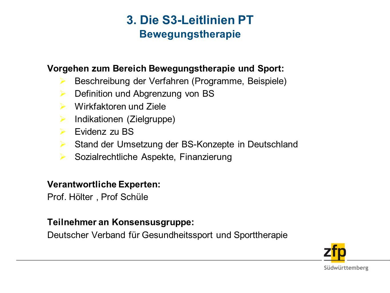3. Die S3-Leitlinien PT Bewegungstherapie Vorgehen zum Bereich Bewegungstherapie und Sport: Beschreibung der Verfahren (Programme, Beispiele) Definiti