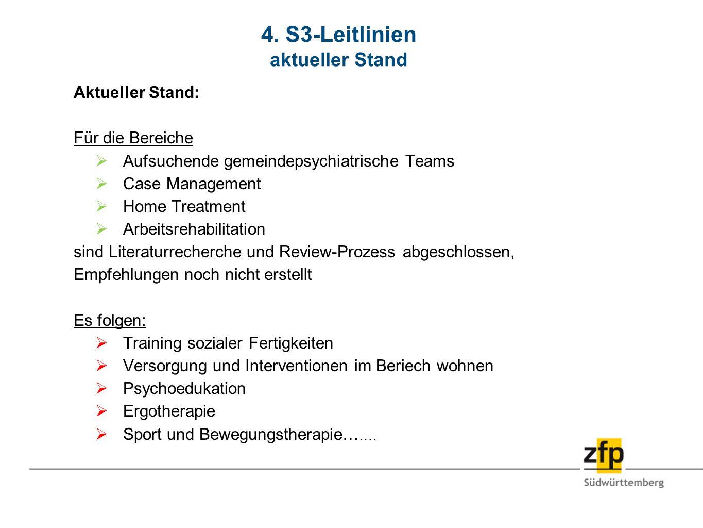 4. S3-Leitlinien aktueller Stand Aktueller Stand: Für die Bereiche Aufsuchende gemeindepsychiatrische Teams Case Management Home Treatment Arbeitsreha