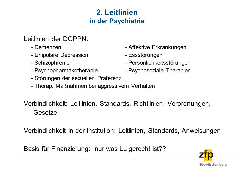 2. Leitlinien in der Psychiatrie Leitlinien der DGPPN: - Demenzen- Affektive Erkrankungen - Unipolare Depression- Essstörungen - Schizophrenie- Persön