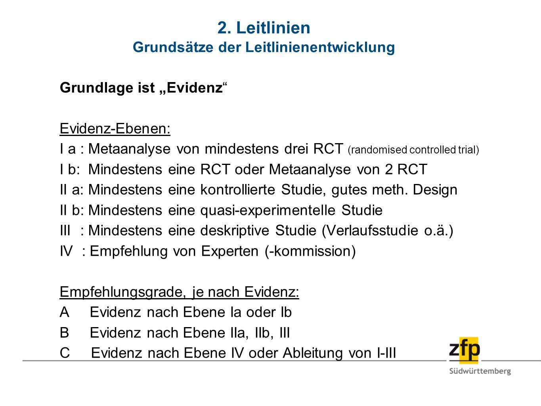 2. Leitlinien Grundsätze der Leitlinienentwicklung Grundlage ist Evidenz Evidenz-Ebenen: I a : Metaanalyse von mindestens drei RCT (randomised control