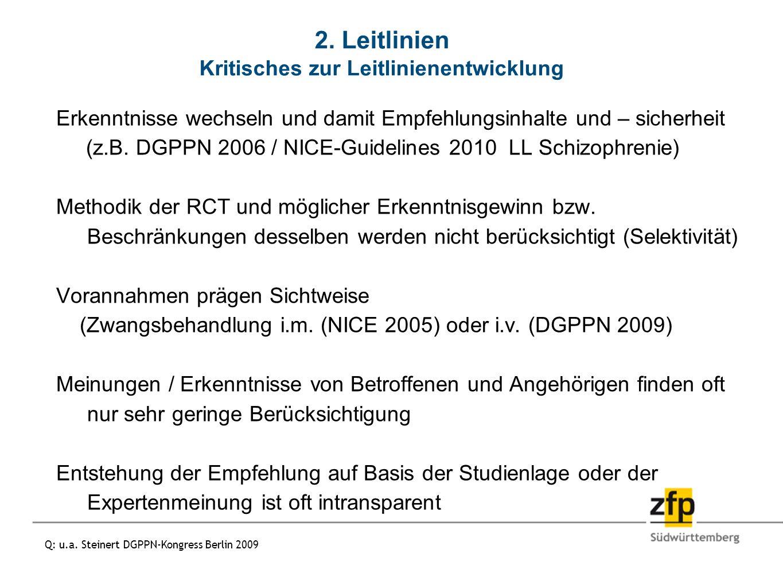 2. Leitlinien Kritisches zur Leitlinienentwicklung Erkenntnisse wechseln und damit Empfehlungsinhalte und – sicherheit (z.B. DGPPN 2006 / NICE-Guideli