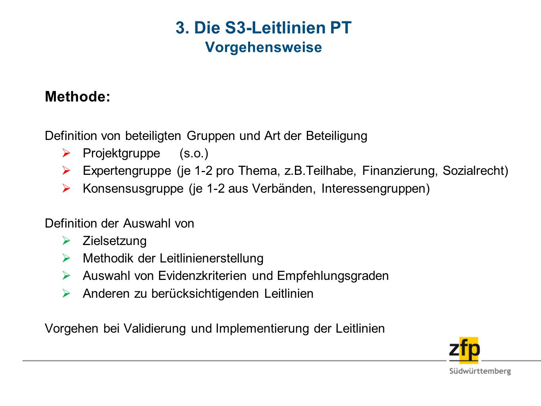 3. Die S3-Leitlinien PT Vorgehensweise Methode: Definition von beteiligten Gruppen und Art der Beteiligung Projektgruppe (s.o.) Expertengruppe (je 1-2