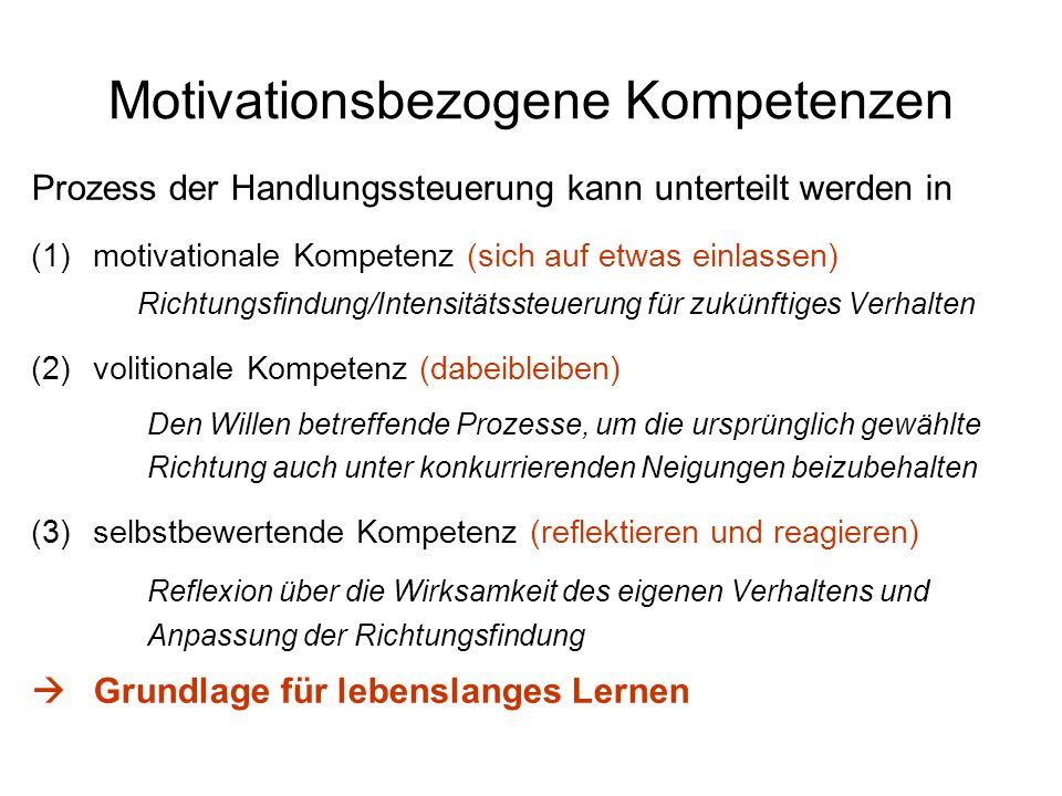 Motivationsbezogene Kompetenzen Prozess der Handlungssteuerung kann unterteilt werden in (1)motivationale Kompetenz (sich auf etwas einlassen) Richtun