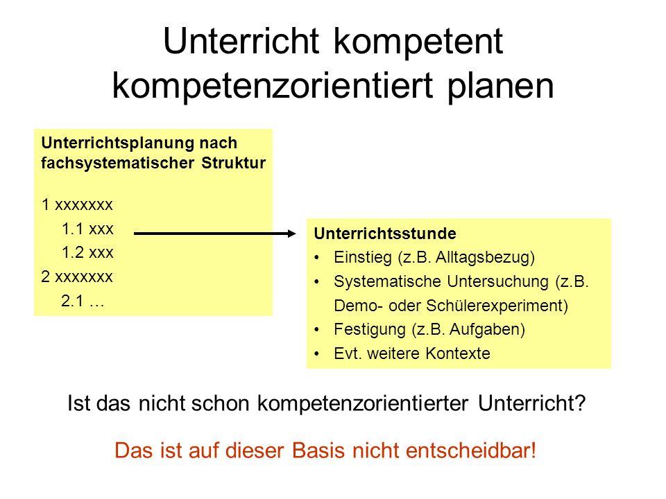 Unterricht kompetent kompetenzorientiert planen Unterrichtsplanung nach fachsystematischer Struktur 1 xxxxxxx 1.1 xxx 1.2 xxx 2 xxxxxxx 2.1 … Unterric