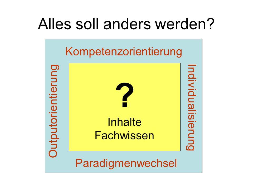 Alles soll anders werden? Outputorientierung Kompetenzorientierung Individualisierung ? Inhalte Fachwissen Paradigmenwechsel