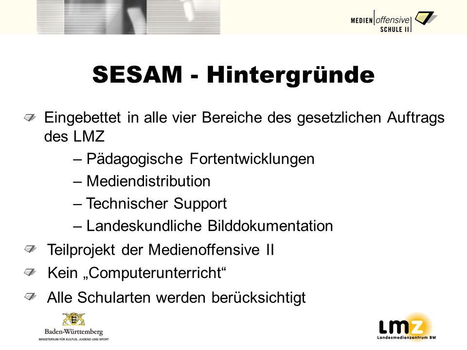 SESAM - Hintergründe Eingebettet in alle vier Bereiche des gesetzlichen Auftrags des LMZ – Pädagogische Fortentwicklungen – Mediendistribution – Techn