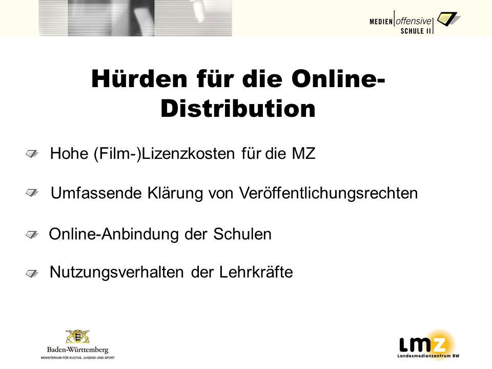 Hohe (Film-)Lizenzkosten für die MZ Hürden für die Online- Distribution Online-Anbindung der Schulen Nutzungsverhalten der Lehrkräfte Umfassende Kläru