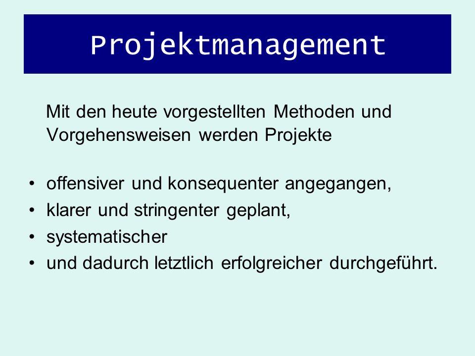 Projektmanagement Mit den heute vorgestellten Methoden und Vorgehensweisen werden Projekte offensiver und konsequenter angegangen, klarer und stringen