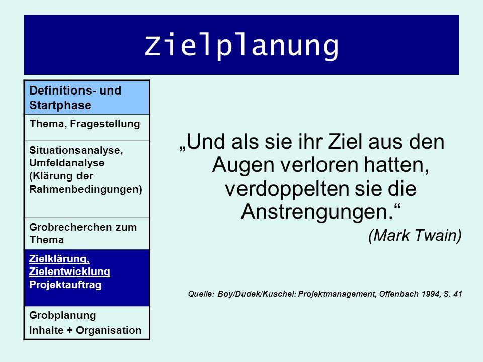 Zielplanung Und als sie ihr Ziel aus den Augen verloren hatten, verdoppelten sie die Anstrengungen. (Mark Twain) Quelle: Boy/Dudek/Kuschel: Projektman