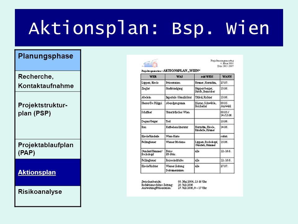Aktionsplan: Bsp. Wien Planungsphase Recherche, Kontaktaufnahme Projektstruktur- plan (PSP) Projektablaufplan (PAP) Aktionsplan Risikoanalyse