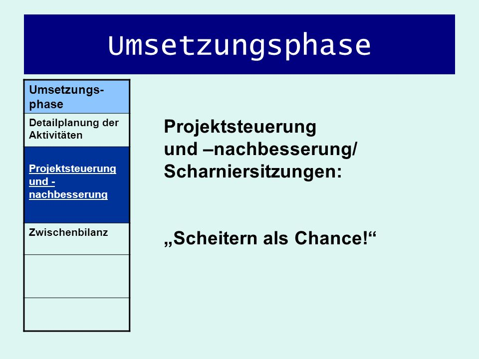 Umsetzungsphase Umsetzungs- phase Detailplanung der Aktivitäten Projektsteuerung und - nachbesserung Zwischenbilanz Projektsteuerung und –nachbesserun