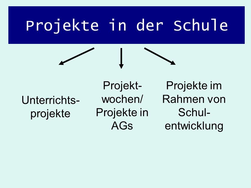 Projekte in der Schule Unterrichts- projekte Projekt- wochen/ Projekte in AGs Projekte im Rahmen von Schul- entwicklung