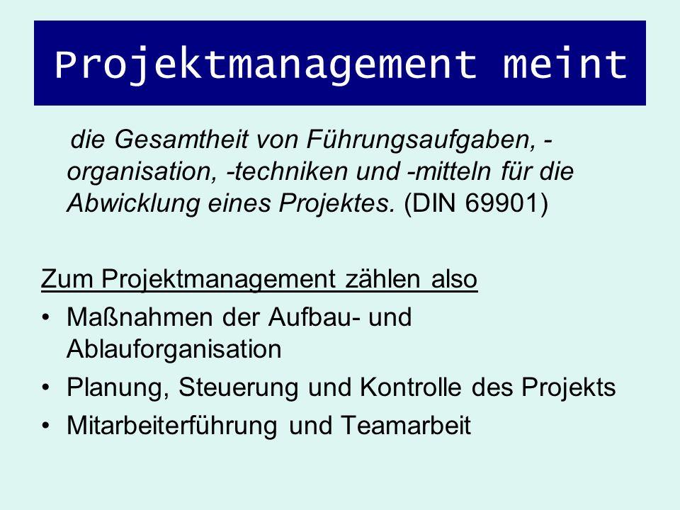 Projektmanagement meint die Gesamtheit von Führungsaufgaben, - organisation, -techniken und -mitteln für die Abwicklung eines Projektes. (DIN 69901) Z