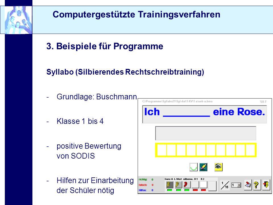 Computergestützte Trainingsverfahren 3. Beispiele für Programme Syllabo (Silbierendes Rechtschreibtraining) -Grundlage: Buschmann -Klasse 1 bis 4 -pos