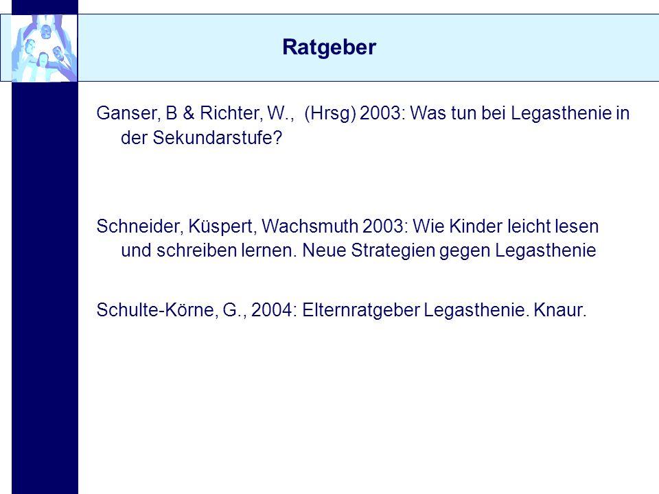 Ratgeber Ganser, B & Richter, W., (Hrsg) 2003: Was tun bei Legasthenie in der Sekundarstufe? Schneider, Küspert, Wachsmuth 2003: Wie Kinder leicht les