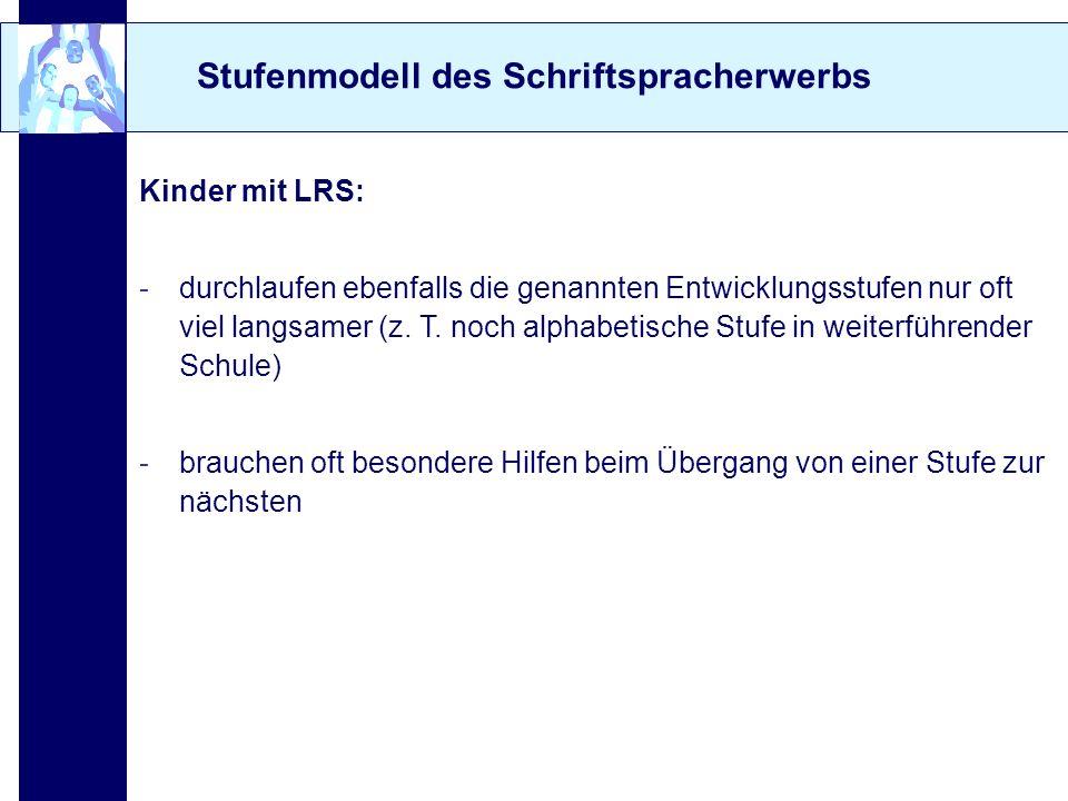 Stufenmodell des Schriftspracherwerbs Kinder mit LRS: -durchlaufen ebenfalls die genannten Entwicklungsstufen nur oft viel langsamer (z. T. noch alpha