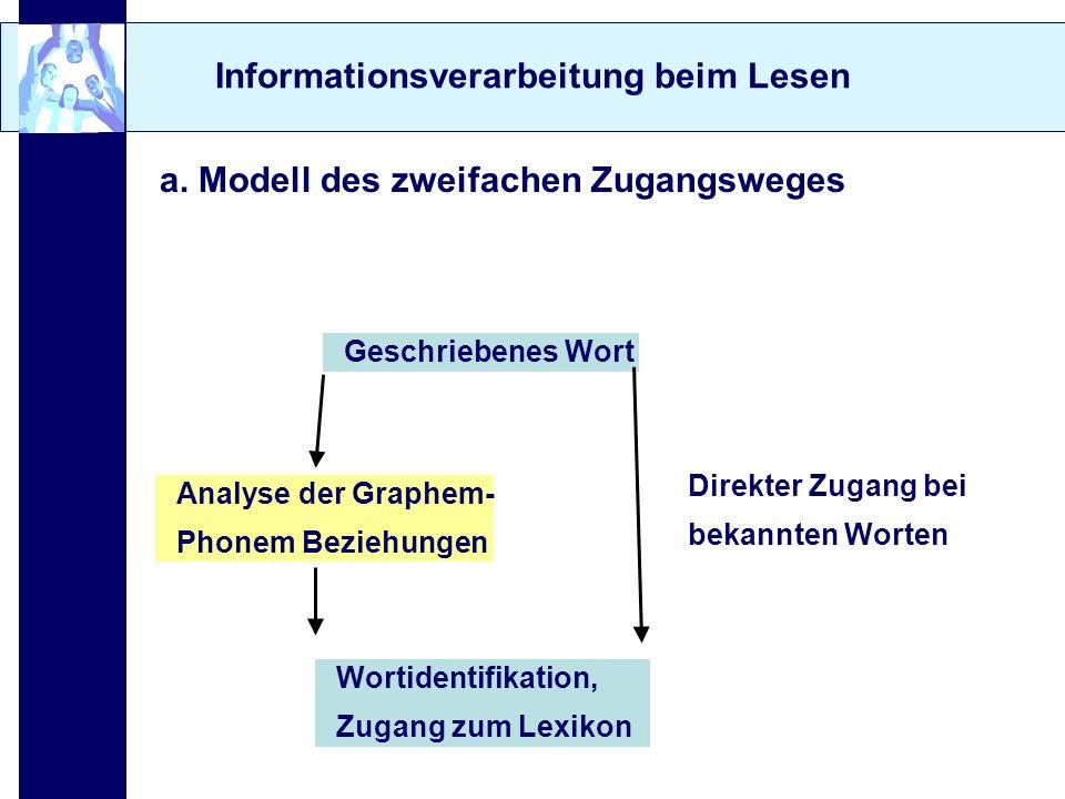 Informationsverarbeitung beim Lesen a. Modell des zweifachen Zugangsweges Geschriebenes Wort Analyse der Graphem- Phonem Beziehungen Direkter Zugang b