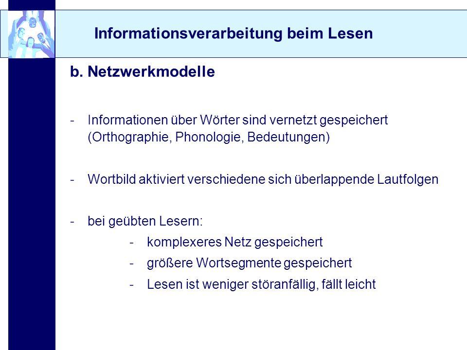 Informationsverarbeitung beim Lesen b. Netzwerkmodelle -Informationen über Wörter sind vernetzt gespeichert (Orthographie, Phonologie, Bedeutungen) -W
