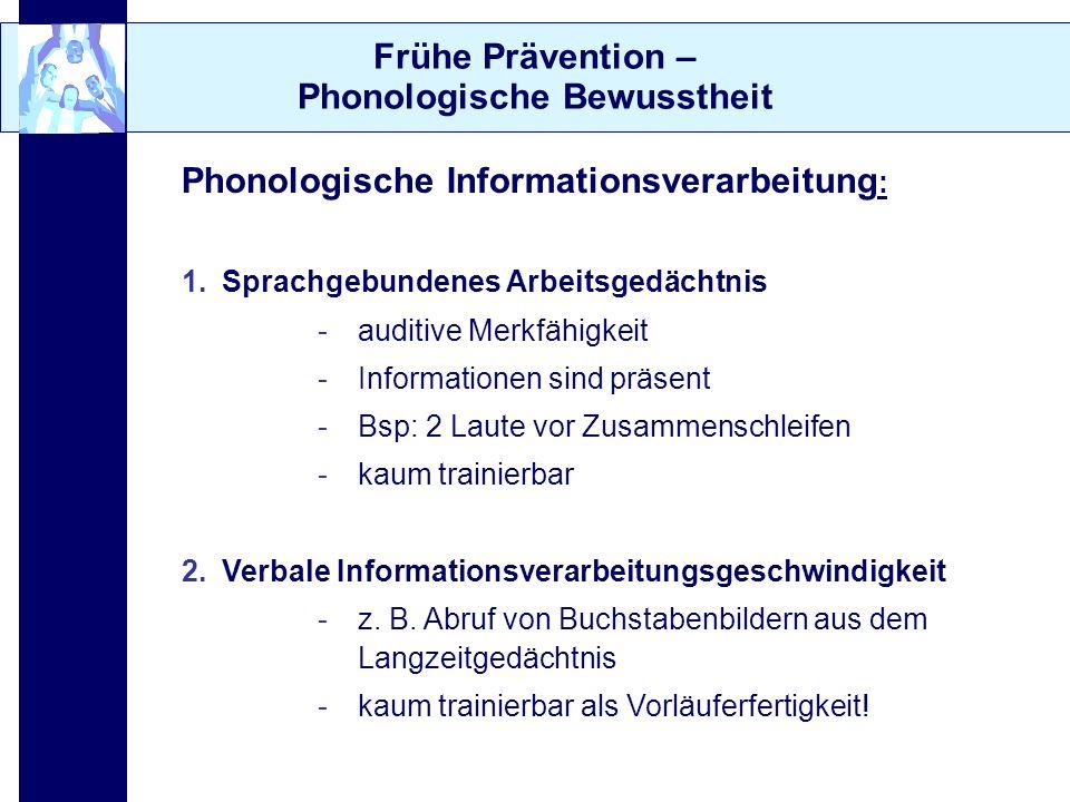 Frühe Prävention – Phonologische Bewusstheit Phonologische Informationsverarbeitung : 1.Sprachgebundenes Arbeitsgedächtnis -auditive Merkfähigkeit -In