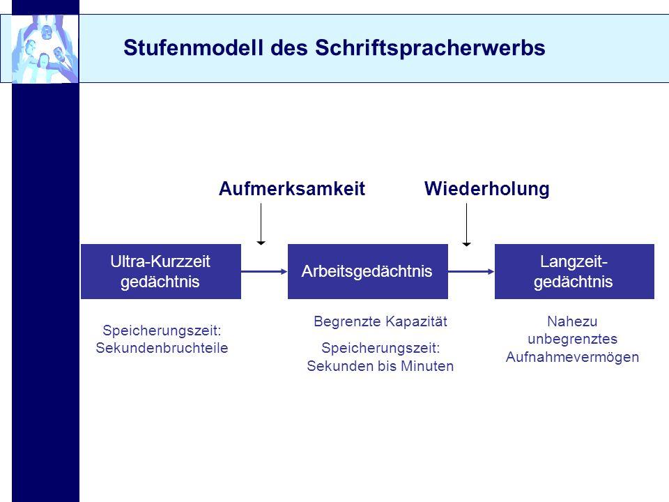 Stufenmodell des Schriftspracherwerbs Ultra-Kurzzeit gedächtnis Arbeitsgedächtnis Langzeit- gedächtnis Speicherungszeit: Sekundenbruchteile Begrenzte