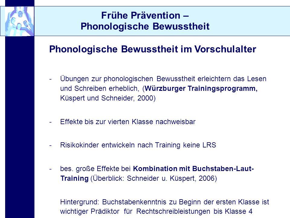 Frühe Prävention – Phonologische Bewusstheit Phonologische Bewusstheit im Vorschulalter -Übungen zur phonologischen Bewusstheit erleichtern das Lesen