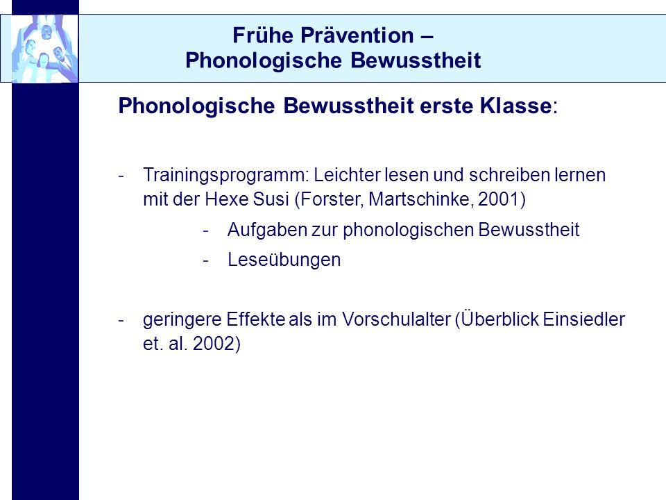 Frühe Prävention – Phonologische Bewusstheit Phonologische Bewusstheit erste Klasse: -Trainingsprogramm: Leichter lesen und schreiben lernen mit der H