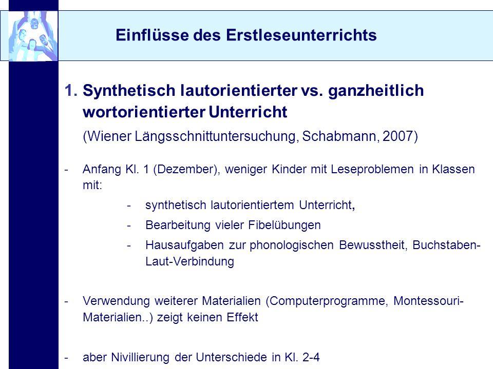 Einflüsse des Erstleseunterrichts 1.Synthetisch lautorientierter vs. ganzheitlich wortorientierter Unterricht (Wiener Längsschnittuntersuchung, Schabm