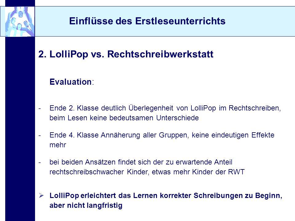 Einflüsse des Erstleseunterrichts 2. LolliPop vs. Rechtschreibwerkstatt Evaluation: -Ende 2. Klasse deutlich Überlegenheit von LolliPop im Rechtschrei