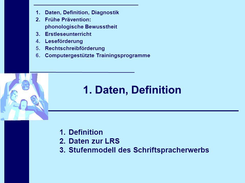 1. Daten, Definition 1.Definition 2.Daten zur LRS 3.Stufenmodell des Schriftspracherwerbs 1. Daten, Definition, Diagnostik 2. Frühe Prävention: phonol