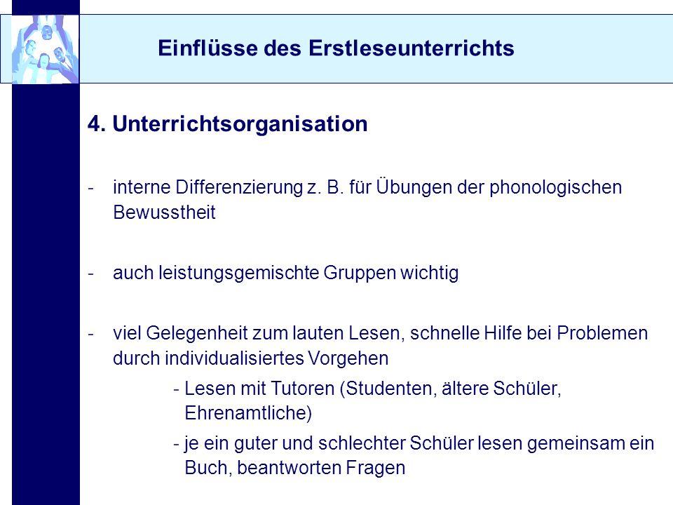 Einflüsse des Erstleseunterrichts 4. Unterrichtsorganisation -interne Differenzierung z. B. für Übungen der phonologischen Bewusstheit -auch leistungs