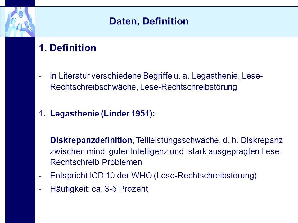 Daten, Definition 2.Kinder mit besonderen Schwierigkeiten im Lesen und / oder Schreiben -Grundlage: Kultusministerkonferenz 1978 -umfasst alle Kinder mit besonderen Schwierigkeiten im Lesen und Rechtschreiben unabhängig von ihrer Intelligenz -Lese-Rechtschreibschwäche / -störung