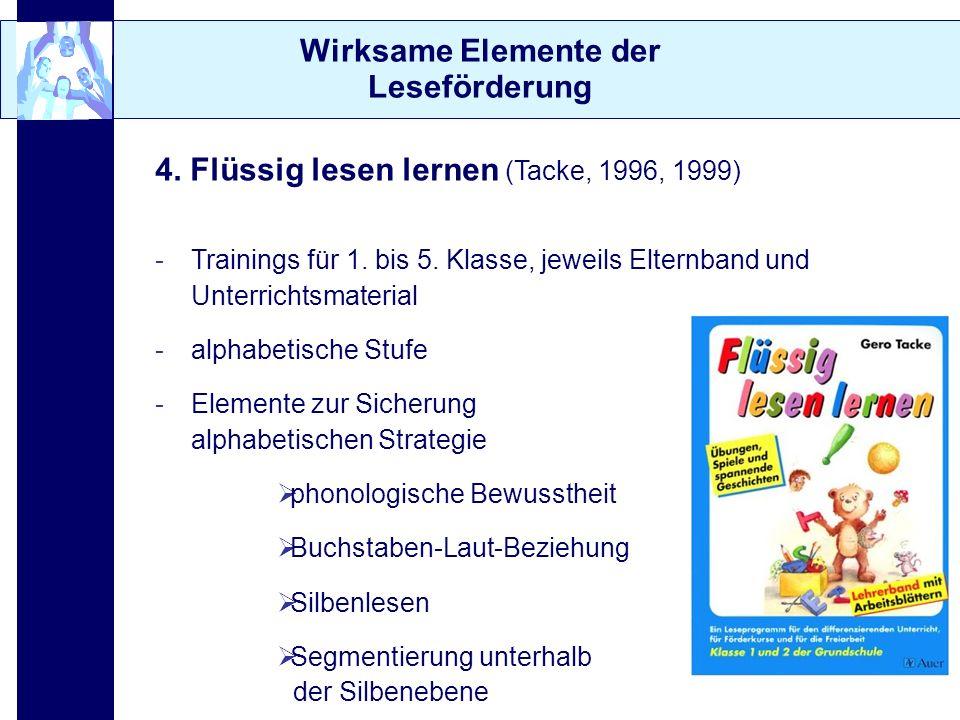 Wirksame Elemente der Leseförderung 4. Flüssig lesen lernen (Tacke, 1996, 1999) -Trainings für 1. bis 5. Klasse, jeweils Elternband und Unterrichtsmat