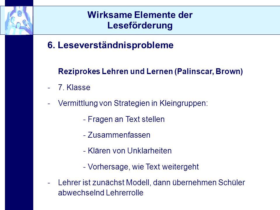 Wirksame Elemente der Leseförderung 6. Leseverständnisprobleme Reziprokes Lehren und Lernen (Palinscar, Brown) -7. Klasse -Vermittlung von Strategien