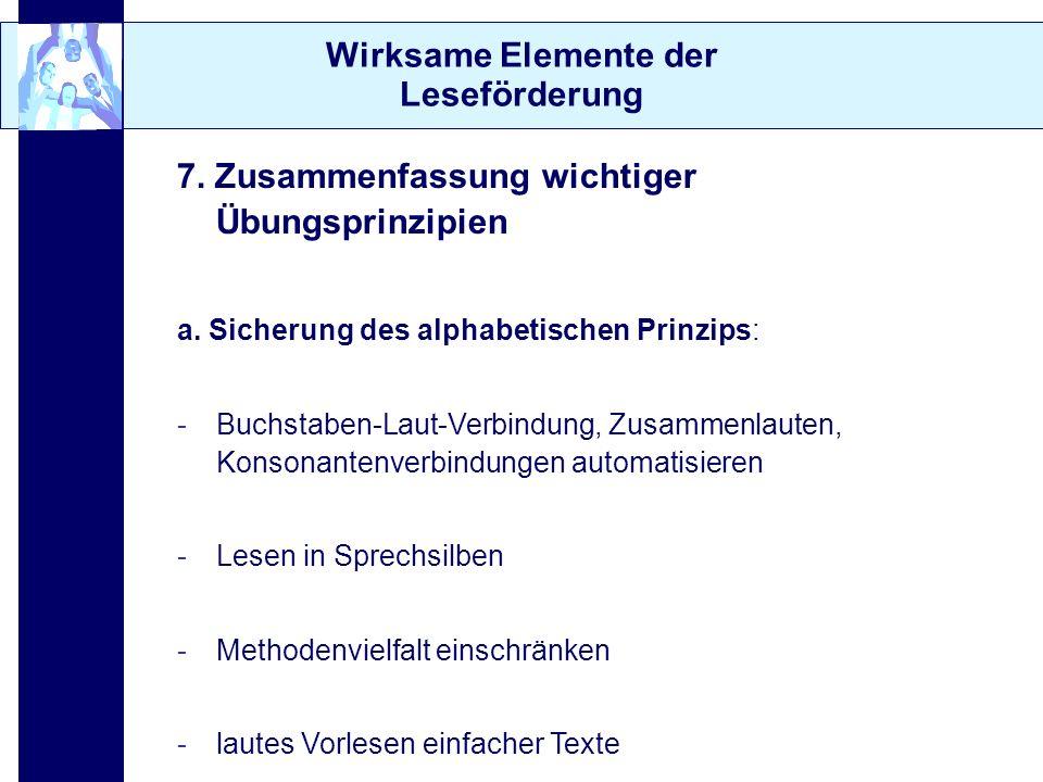 Wirksame Elemente der Leseförderung 7. Zusammenfassung wichtiger Übungsprinzipien a. Sicherung des alphabetischen Prinzips: -Buchstaben-Laut-Verbindun