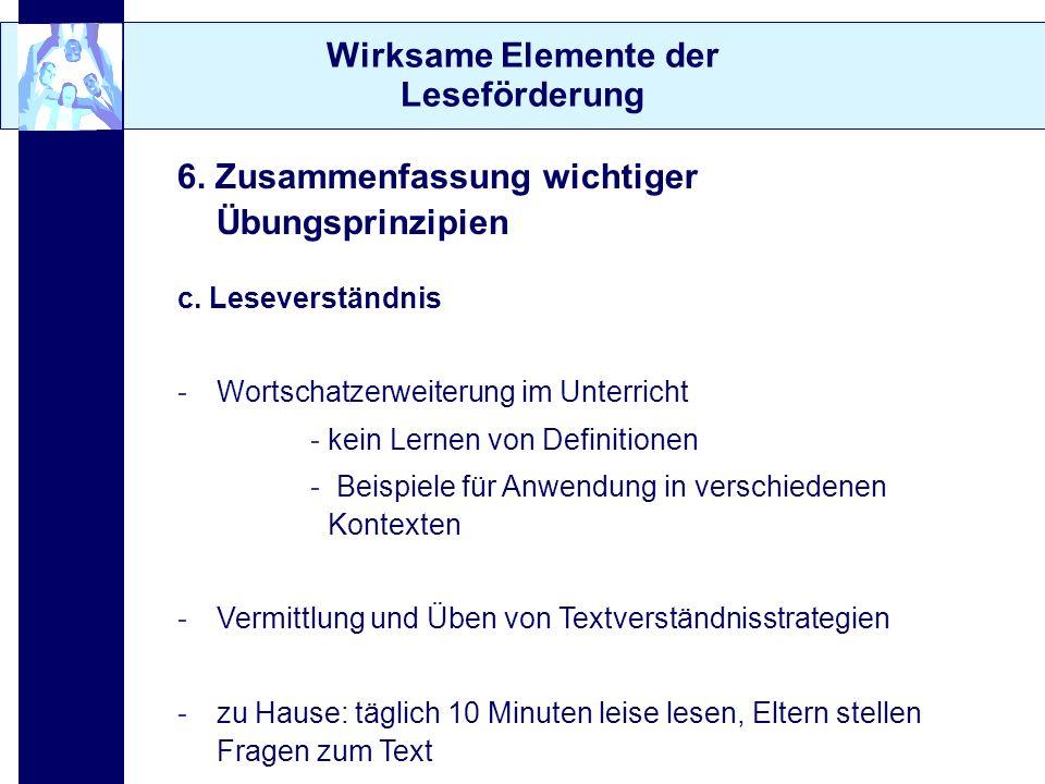 Wirksame Elemente der Leseförderung 6. Zusammenfassung wichtiger Übungsprinzipien c. Leseverständnis -Wortschatzerweiterung im Unterricht - kein Lerne
