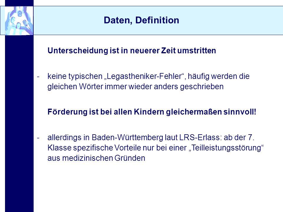 Daten, Definition 2.Daten zur LRS (Überblick: Schulte-Körne, 2004) -ca.