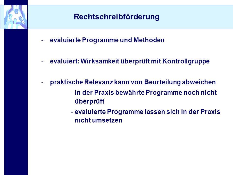 Rechtschreibförderung -evaluierte Programme und Methoden -evaluiert: Wirksamkeit überprüft mit Kontrollgruppe -praktische Relevanz kann von Beurteilun