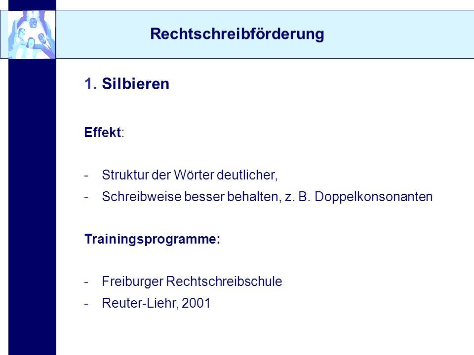 Rechtschreibförderung 1.Silbieren Effekt: -Struktur der Wörter deutlicher, -Schreibweise besser behalten, z. B. Doppelkonsonanten Trainingsprogramme: