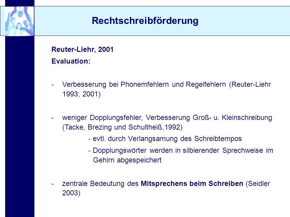 Rechtschreibförderung Reuter-Liehr, 2001 Evaluation: -Verbesserung bei Phonemfehlern und Regelfehlern (Reuter-Liehr 1993; 2001) -weniger Dopplungsfehl