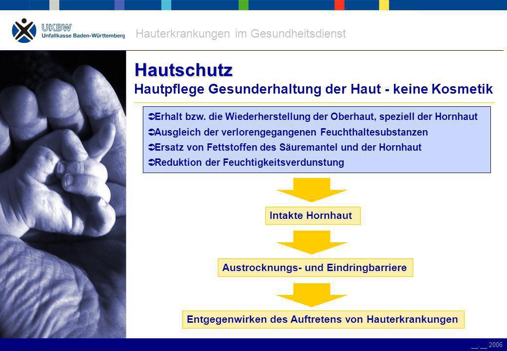 Hauterkrankungen im Gesundheitsdienst __.__.2006 Hautschutz Hautschutz Hautpflege Gesunderhaltung der Haut - keine Kosmetik Erhalt bzw.