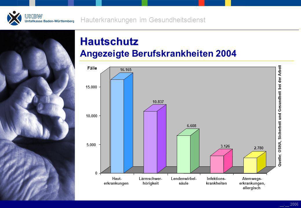 Hauterkrankungen im Gesundheitsdienst __.__.2006 Berufskrankheiten Berufskrankheiten angezeigte Berufskrankheiten im öffentlichen Dienst 32 % 24 % 13 % 7 % WirbelsäuleInfektionAtemwegeHautsonstige