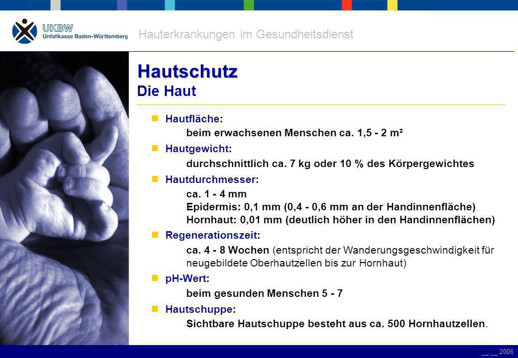 Hauterkrankungen im Gesundheitsdienst __.__.2006 Gefährdung Gefährdung durch Handschuhe Wasserlösliche Proteine aus der Latexmilch Aufnahmewege: durch die unter dem Handschuh aufge- quollene Haut Schleimhautkontakt mit Handschuhen Einreiben von Puder in die Schleimhäute Inhalation über Puder Maisstärke Aufnahmewege: Inhalation des Puders Austrocknen der Haut pH-Wert von 8 mechanische Reizung Thiurame, Carbamate Aufnahmewege: durch die unter dem Handschuh aufge- quollene Haut Schleimhautkontakt mit Handschuhen Einreiben von Puder in die Schleimhäute Latex:Puder:Zuschlagstoffe: Typ 1 AllergieAbnutzungsekzem Typ 4 Allergie