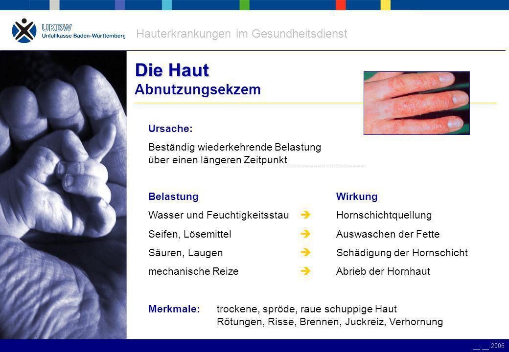 Hauterkrankungen im Gesundheitsdienst __.__.2006 Anforderungen Anforderungen an Handschuhe Handschuhauswahl Schutz vor Chemikalien Schutz vor Infektionen KosmetikaDesinfektionsmittel Arzneimittel Patienten- schutz Personal- schutz Reinigungsmittel