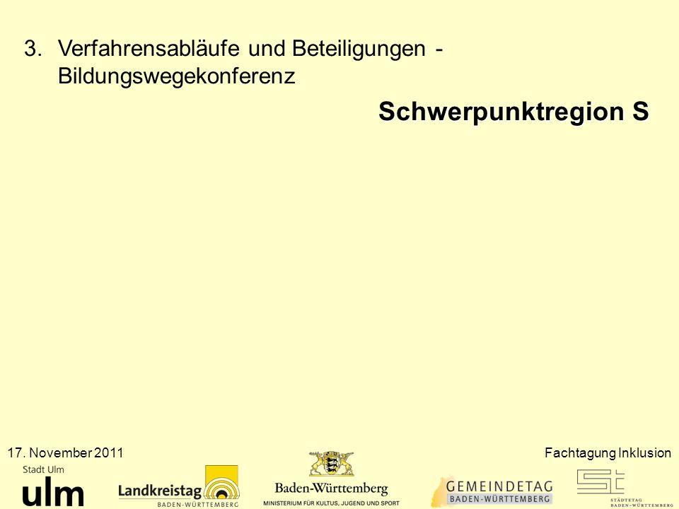 17. November 2011Fachtagung Inklusion 3.Verfahrensabläufe und Beteiligungen - Bildungswegekonferenz Schwerpunktregion S
