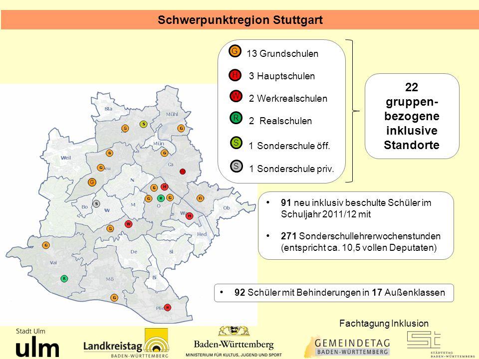 Schwerpunktregion Stuttgart 13 Grundschulen 3 Hauptschulen 2 Werkrealschulen 2 Realschulen 1 Sonderschule öff. 1 Sonderschule priv. G S H R S W G W 91