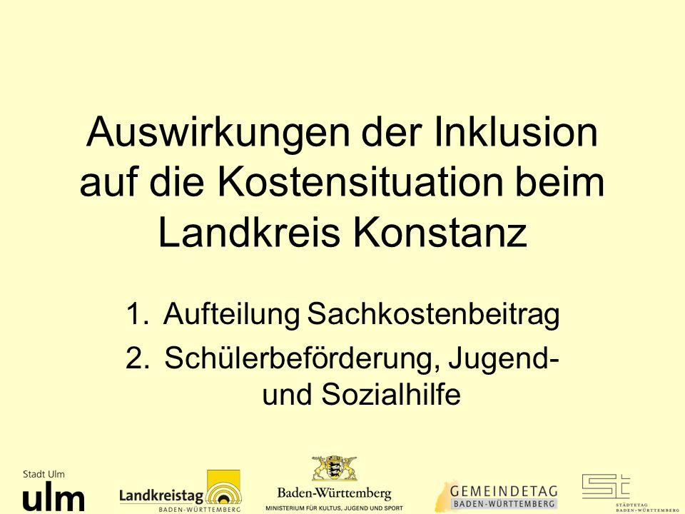 Auswirkungen der Inklusion auf die Kostensituation beim Landkreis Konstanz 1.Aufteilung Sachkostenbeitrag 2.Schülerbeförderung, Jugend- und Sozialhilf